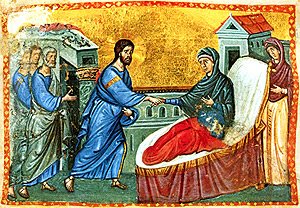 Jesus heals Simon's mother-in-law. Orthodox icon.