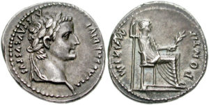 A denarius with the image of the Roman Emperor Tiberius.