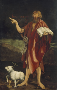 John the Baptist pointing toward the crucified Jesus