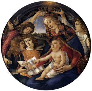 Madonna del Magnificat (Madonna of the Magnificat), tempera painting on panel (1483) by Sandro Botticelli (1445-1510). Uffizi Gallery, Florence. (Click image to enlarge.)