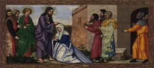 Healing the paralyzed woman on the Sabbath.